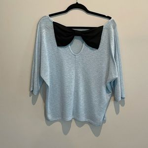 💜Powder Blue Sweater Shirt with Black Bow Large